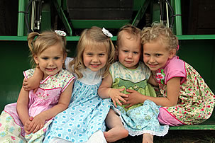 josh and kerin's girls on tractor